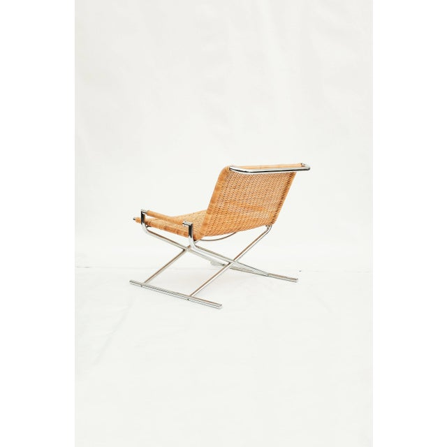 Boho Chic Ward Bennett Wicker Sled Lounge Chair for Brickel Associates For Sale - Image 3 of 10