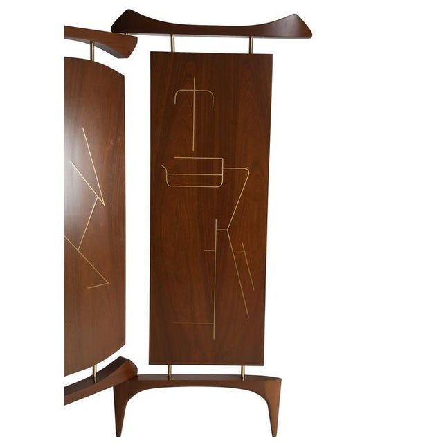 Asian 1950's VINTAGE FRANK KYLE THREE-PANEL WALNUT SCREEN For Sale - Image 3 of 6