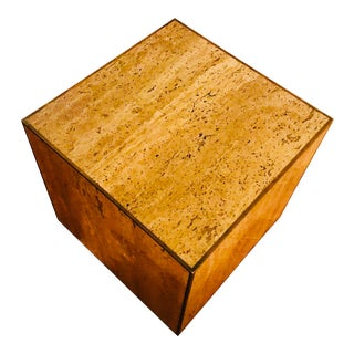 Vintage Italian Travertine Marble Cube Table With Brass Trim For Sale