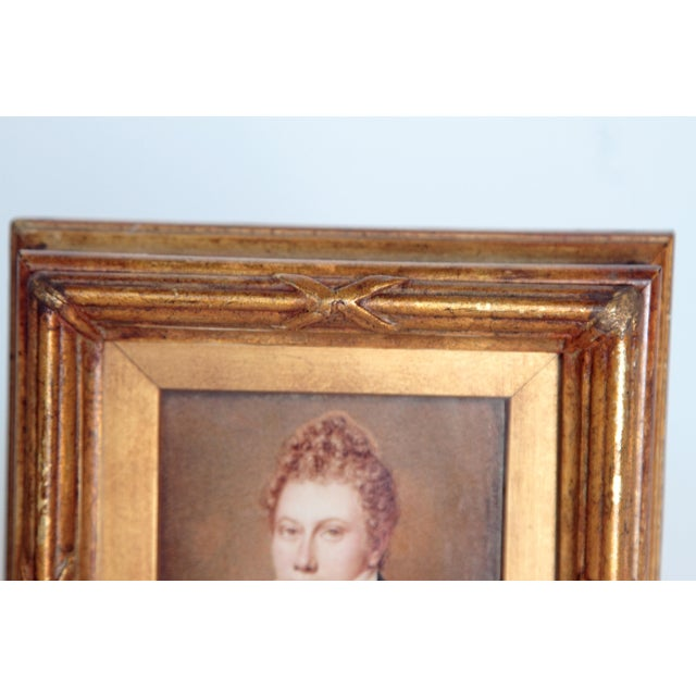 Gold Pair of Well-Painted Portrait Miniatures / Handsome English Regency Gentlemen For Sale - Image 8 of 13