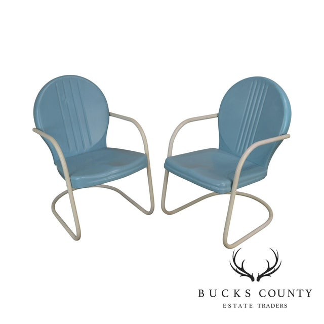 Art Deco Style 1940's Vintage Pair Metal Patio Lawn Chairs For Sale - Image 13 of 13