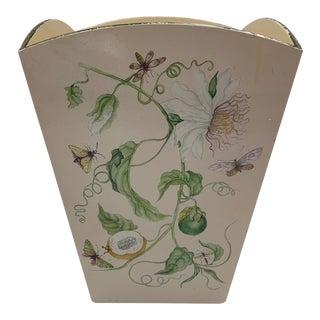 1980s Carolyn Sheffield Botanical Butterfly Painted Waste Bin For Sale