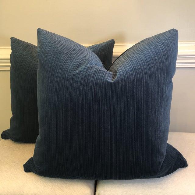 "2010s Agean Blue Stripe Velvet 22"" Pillows-A Pair For Sale - Image 5 of 6"