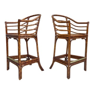 Pair Boho Modern Bamboo and Cane Barstools For Sale