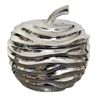 Large Chrome Contemporary Modern Apple Candy Dish / Box For Sale