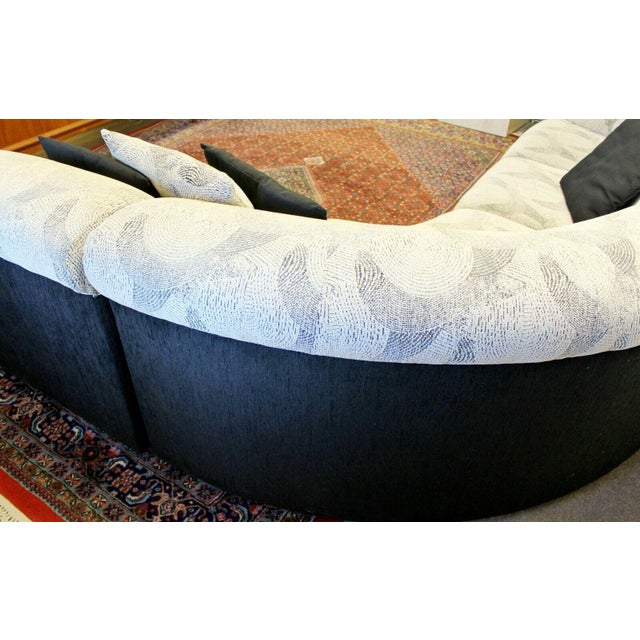 Textile Contemporary Modern Kagan Style 3 Pc Curved Sectional Sofa 1980s Gray Black For Sale - Image 7 of 11