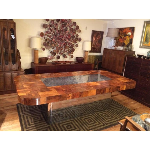 "Paul Evans cityscape dining table for Directional. The table seats eight without leaves (30"" H x 48-1/8"" D x 96"" L) and 12..."
