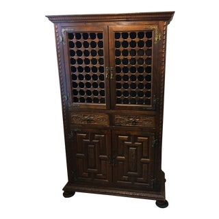 1960s Spanish Ornate Wooden Cupboard For Sale