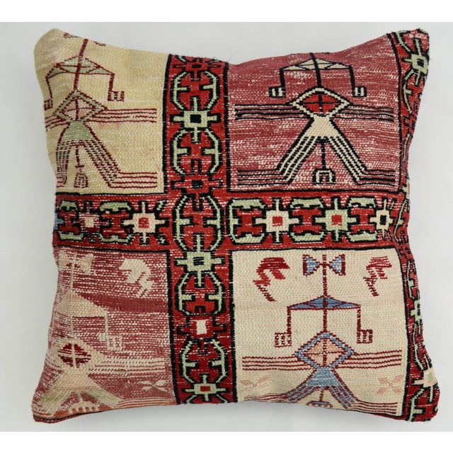 Hand Woven Silk Kilim Rug Pillow Cover - Image 2 of 5