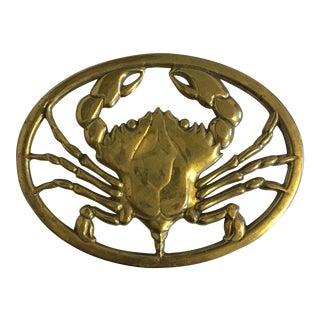 Solid Brass Crab Trivet For Sale