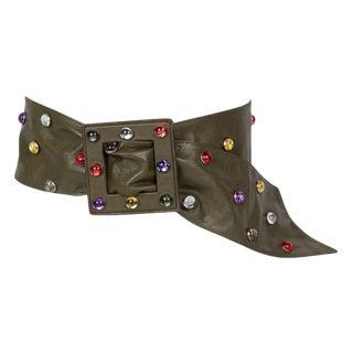 1980s Saint Laurent Olive Green Wide Leather Jewel Belt For Sale
