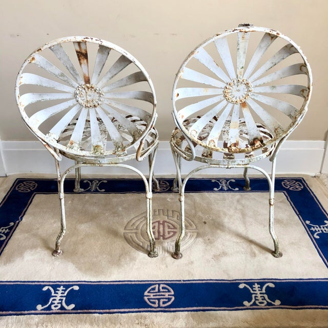 Francois Carre White Iron Sunburst Garden Chairs - a Pair For Sale - Image 9 of 13
