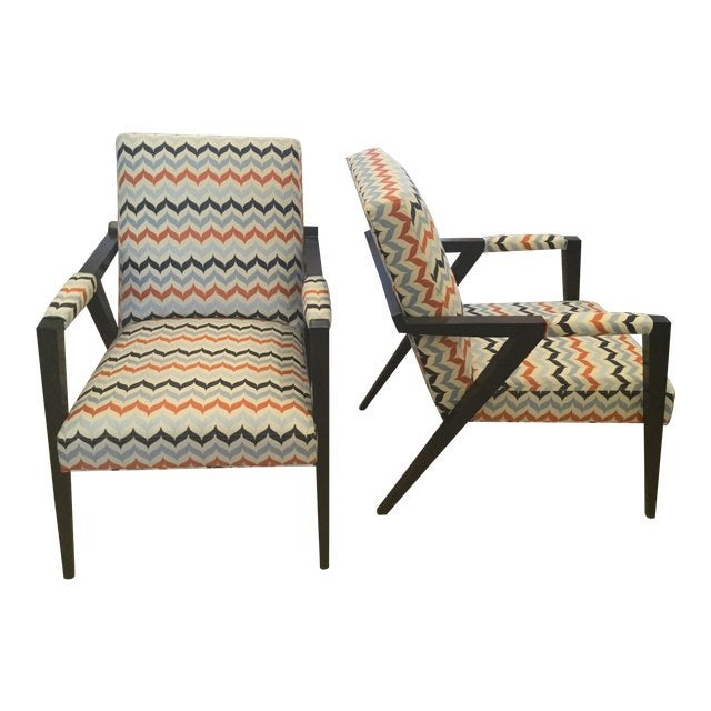 Blue Kravet Mid-Century Modern Tempest Chairs - a Pair For Sale - Image 8 of 8