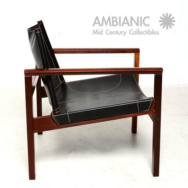 Animal Skin Pair of Leather & Rosewood Michel Arnoult Safari Armchairs For Sale - Image 7 of 9