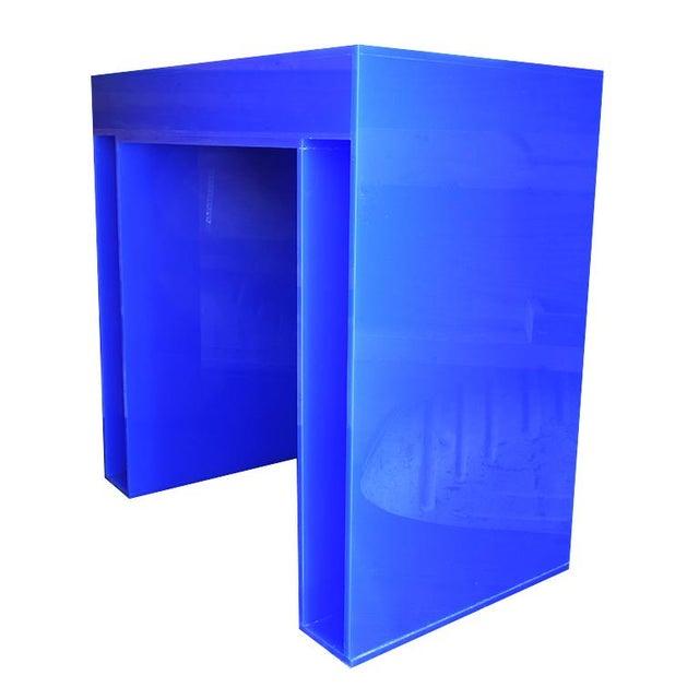 1980s Memphis Style Blue Acrylic Desk For Sale - Image 5 of 7
