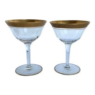 Vintage Tiffin Optic Gold Stem Rambler Rose Champagne Glasses - a Pair For Sale