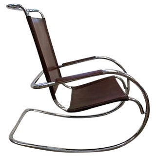 Vintage Chrome and Leather Rocking Chair For Sale