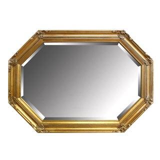 1980s Hollywood Regency Gilded Octagon Wooden Mirror