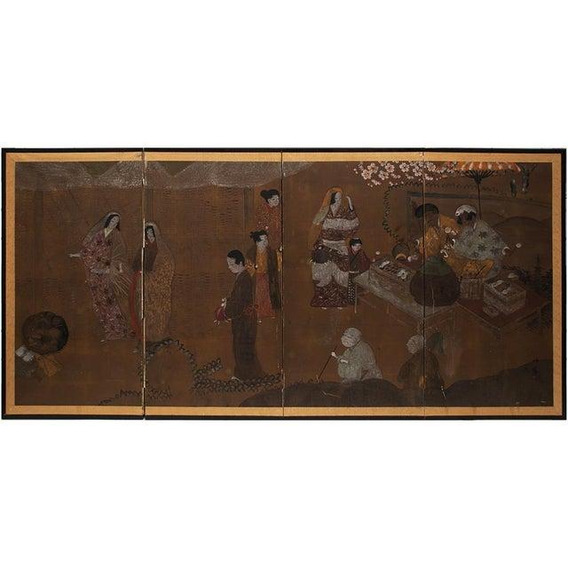 C. 1920s Japanese Market Scene Gold Leaf Byobu Screen For Sale - Image 12 of 13