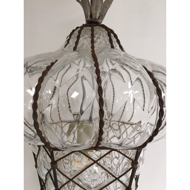 Vintage Clear Murano Baloton Style Glass Single Light Pendant For Sale - Image 9 of 10