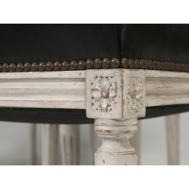 8 Painted French Louis XVI Dining Chairs W/ Leather For Sale - Image 9 of 13