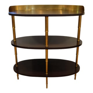 Hollywood Regency Marietta Himes Gomez for Hickory Brass & Dark Walnut Tiered Bar Table For Sale