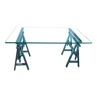 Industrial Restoration Hardware Glass and Steel Sawhorse Desk