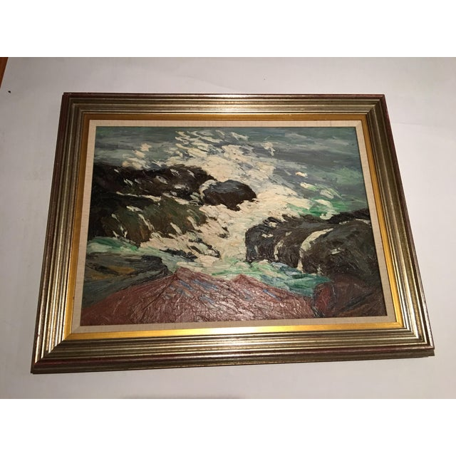 A beautiful painting by Abbott Yarnall titled 'After The Blow'. Great movement and colors. Beautifully framed. Canvas...