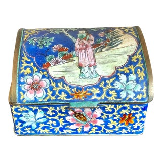 Antique Chinese Canton Enamel Trinket Box For Sale