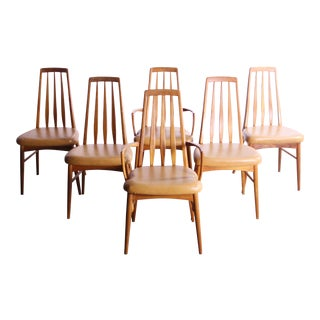 Mid-Century Modern Koefoeds Hornslet 'Eva' Teak and Leather Dining Chairs - Set of 6