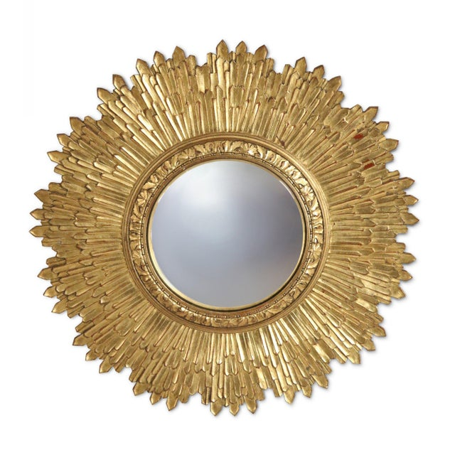 1960s Mid-Century Giltwood Sunburst Frame Convex Wall Mirror For Sale - Image 5 of 5