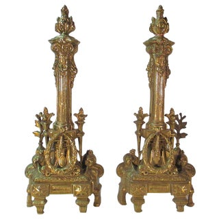 French Brass Andirons - A Pair For Sale