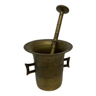 Late 20th Century Metal Mortar and Pestle For Sale