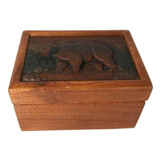 20th Century Lodge Wooden Carved Top Bear Box For Sale