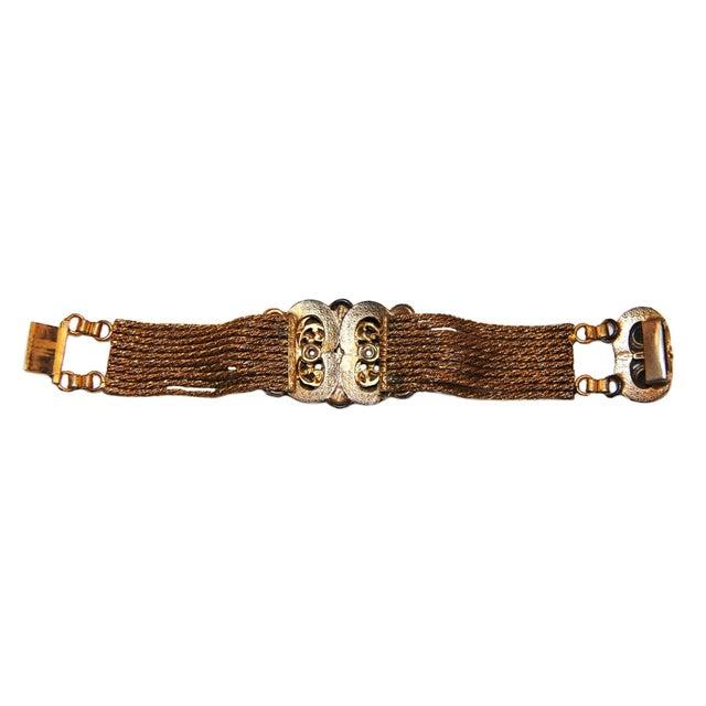 1930s 1930 Czech Jewel Toned Glass Cabochon Multi Chain Bracelet For Sale - Image 5 of 6