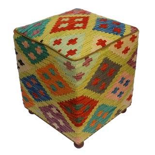 Arshs Corinne Green/Blue Kilim Upholstered Handmade Ottoman For Sale