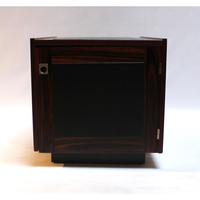1960s Bornholm Danish Rosewood & Leather Storage Side Tables- a Pair For Sale - Image 4 of 11