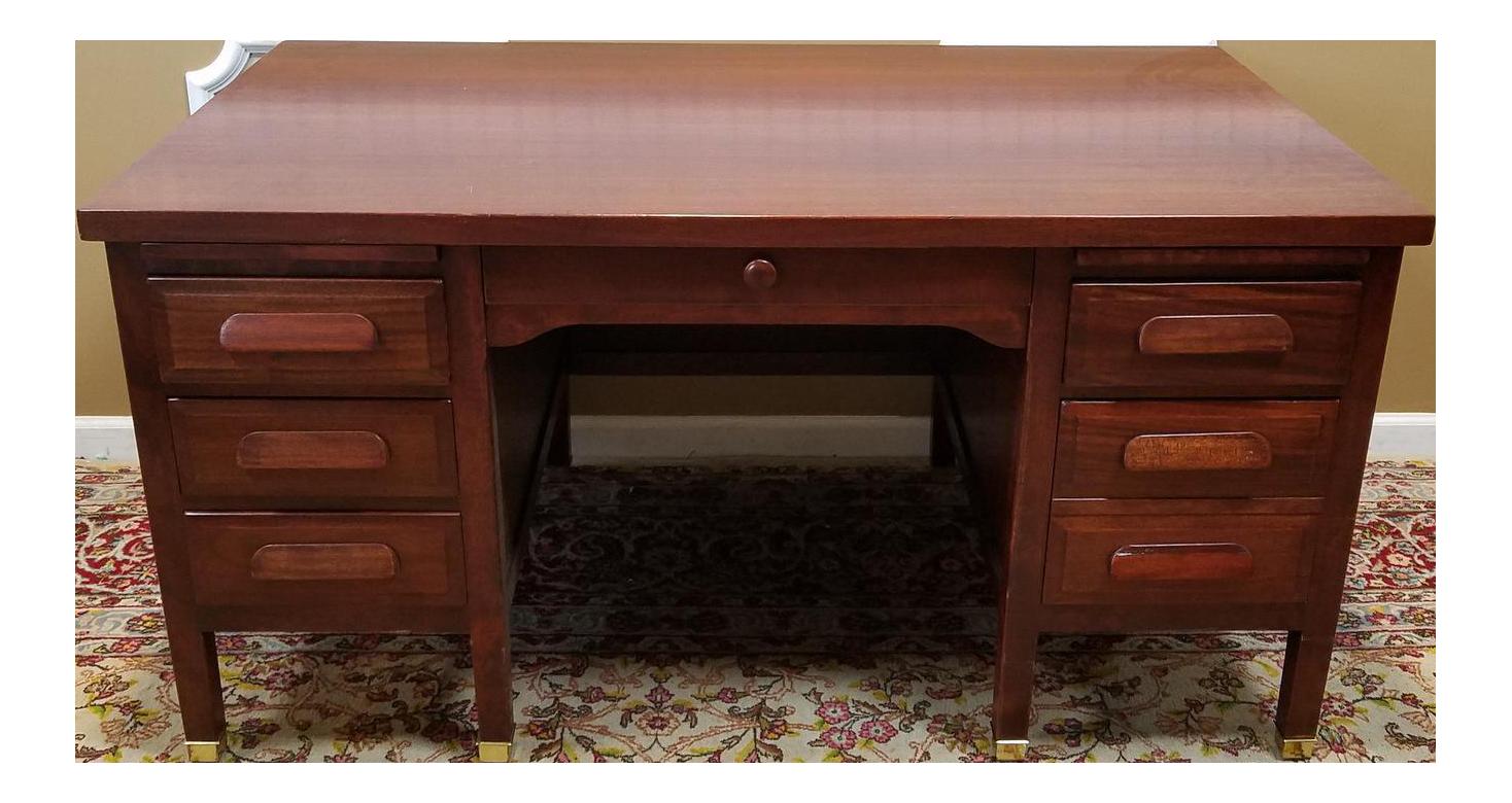 1950s Vintage Mahogany Executive Kneehole Office Desk