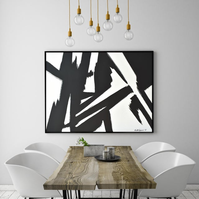 Abstract Abstract Black & White Slash - Frame Print 30x40 For Sale - Image 3 of 6