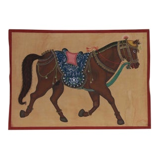 Indian Mughal Style Gauche Painting on Cloth For Sale