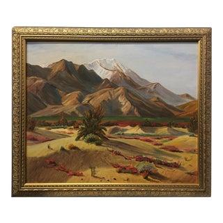 Mid 20th Century Mountainous Desert Landscape Oil Painting, Framed For Sale