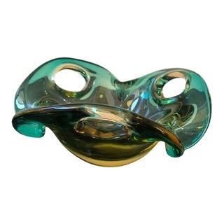 1970s Italian Mid-Century Modern Seguso Sommerso Murano Glass Bowl For Sale