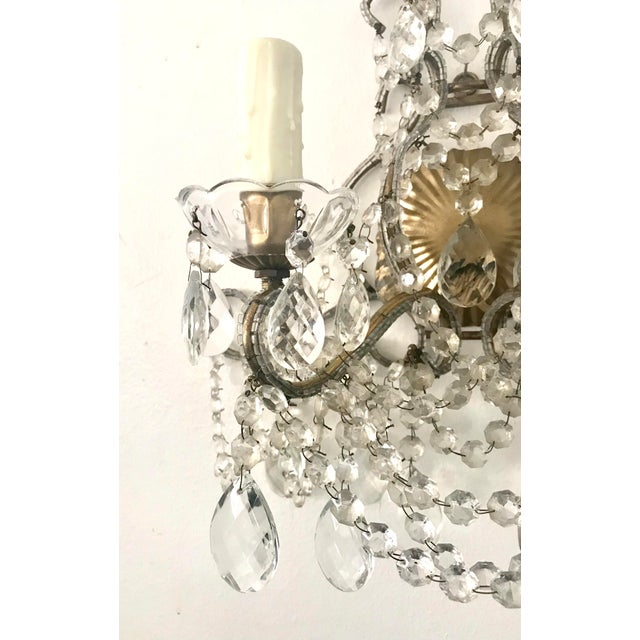 Italian Crystal Beaded Sconces - A Pair For Sale - Image 4 of 7