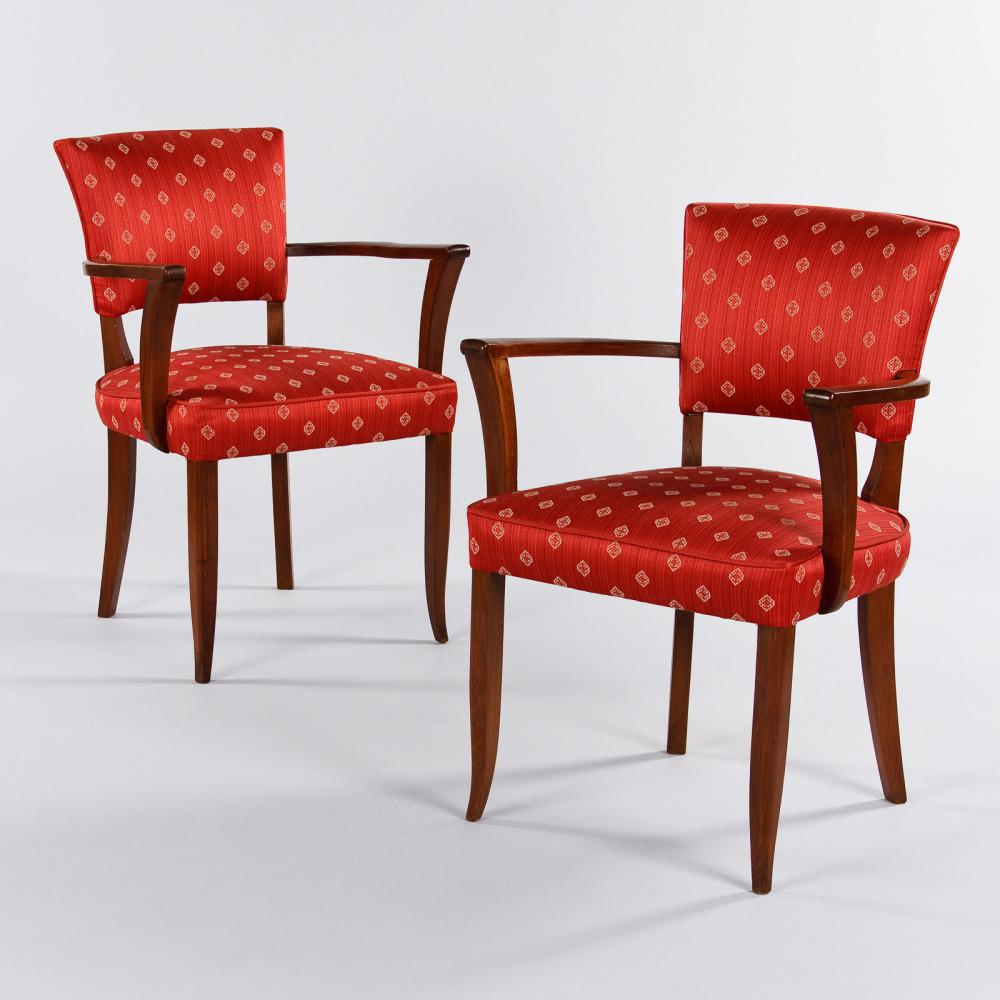 An Outstanding Pair Of French Bridge Armchairs From The Art Deco Period.  Both Armchairs Have