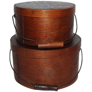 Group of Two 19th Century Bail Handled Pantry Boxes from New England For Sale