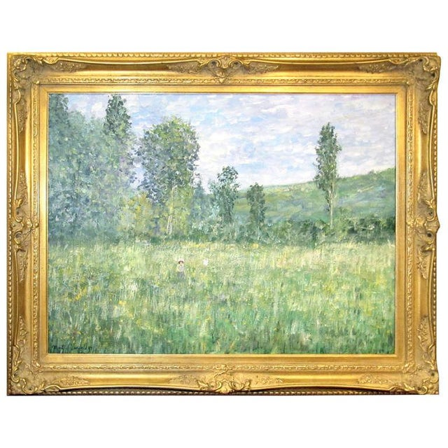 Early 20th Century Impressionistic Landscape, Oil on Canvas Landscape, Martin Jewell For Sale - Image 5 of 5