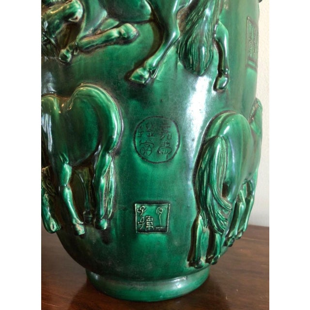 Rare Pair Of Antique Green Chinese Pottery Vases W Horses Chairish