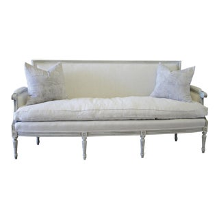 20th Century French Louis XVI Style Painted Carved Linen Upholstered Sofa