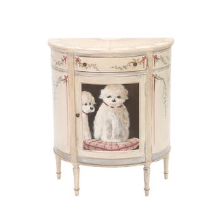 Demilune Mahogany Cabinet Hand-Painted With Dogs For Sale