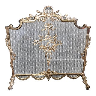 Louis XVI Style Brass Fireplace Screen For Sale